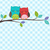 Couple of owls — Stock Vector