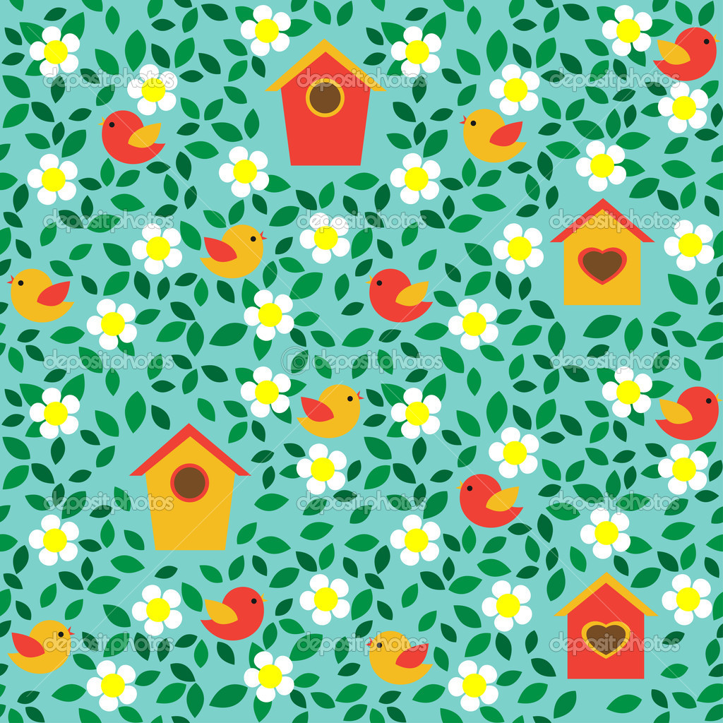 Birds and birdhouses among flowers and leafs. Seamless pattern. — Stock Vector #10721344