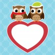 Owls love card - Stock Vector