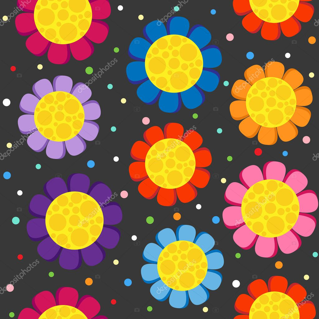 Flowers  on dark background. Seamless pattern. — Stock Vector #8320133