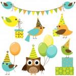 Partyset Vögel — Stockvektor
