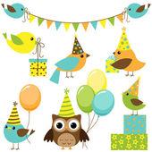 Parti kuşlar set — Stok Vektör