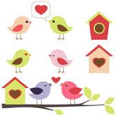 Ptáci v sadě láska — Stock vektor