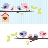 Familj med fåglar — Stockvektor