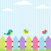 Pták a motýli — Stock vektor