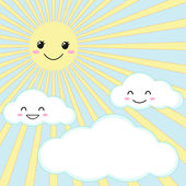 Sun and clouds — Stock Vector