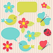 Flowers and birds — Stock Vector