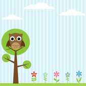 Owl on the tree background — Vector de stock