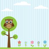 Buho en el fondo del árbol — Vector de stock