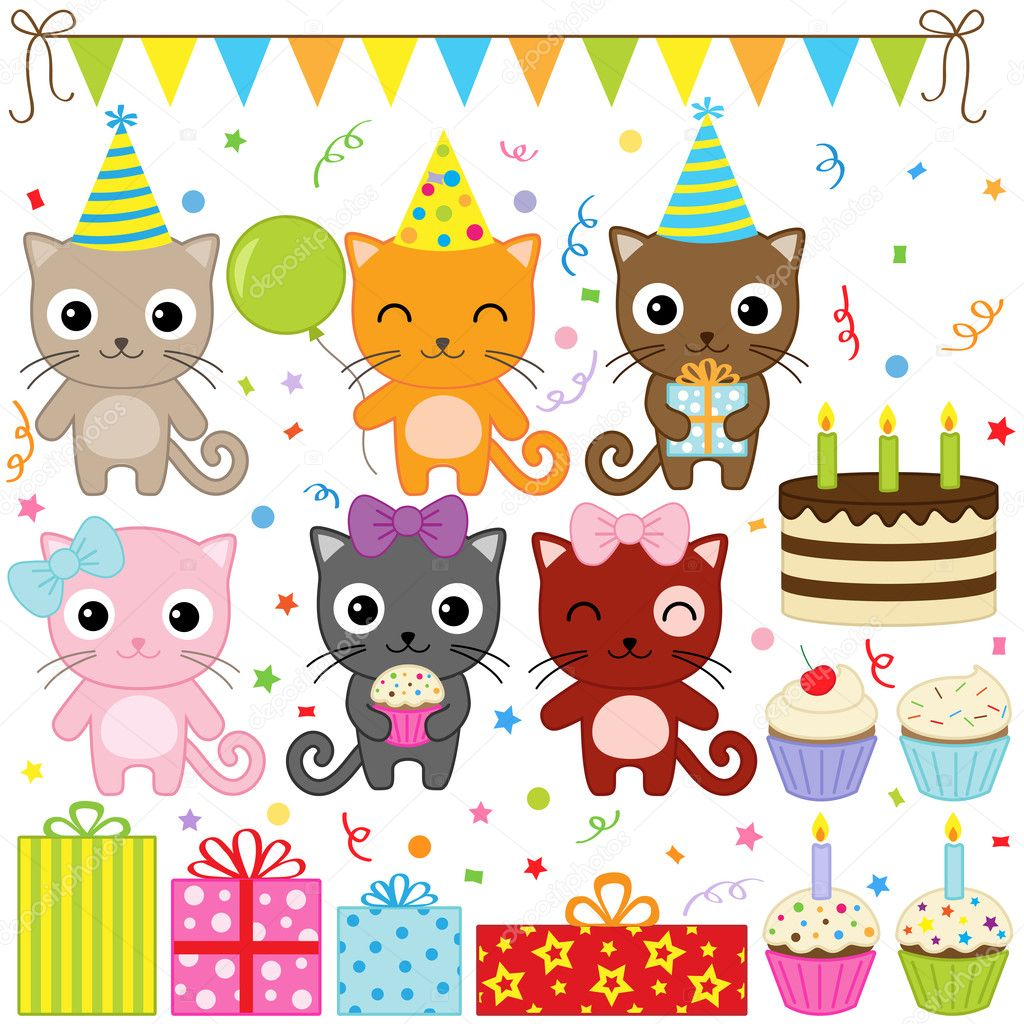 Anniversaires - Page 3 Depositphotos_9691086-Birthday-Party-Cats