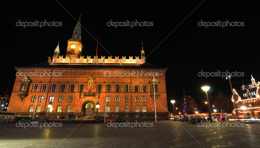 Copenhagen, Denmark - 18 Dec, 2011: Night view of City Hall in central Copenhagen at Christmas  Stock Photo #8864593