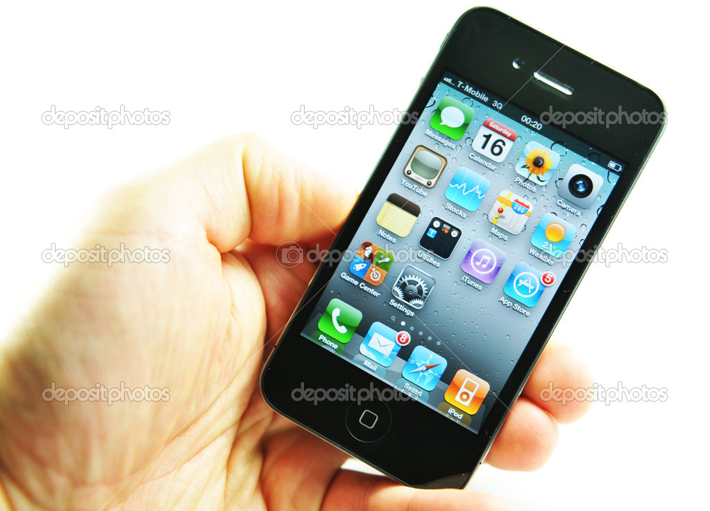 London, UK - 27 Feb, 2012: Applications on iPhone, famous gadget created and marketed by Apple Inc.  Stock Photo #9338549