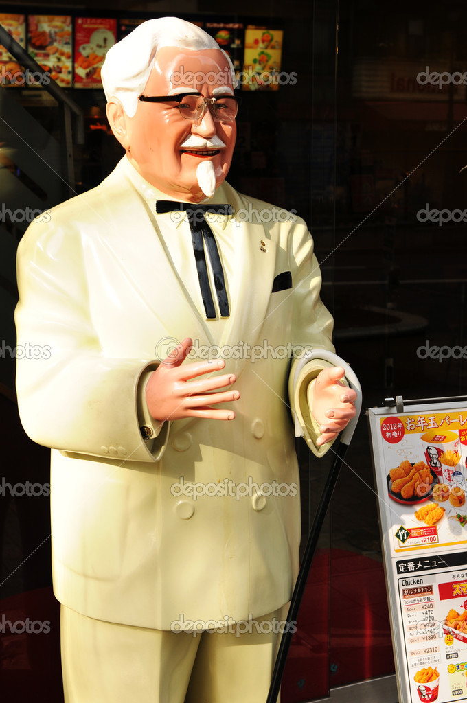 Tokyo, Japan - 2 January, 2012: Statue of Colonel Harland Sanders, the founder of the KFC (Kentucky Fried Chicken) fast food chain, in Shibuya district, Tokyo — Stock Photo #9827033