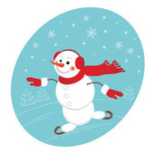 Funny snowman with a bag of gifts — Stock Vector