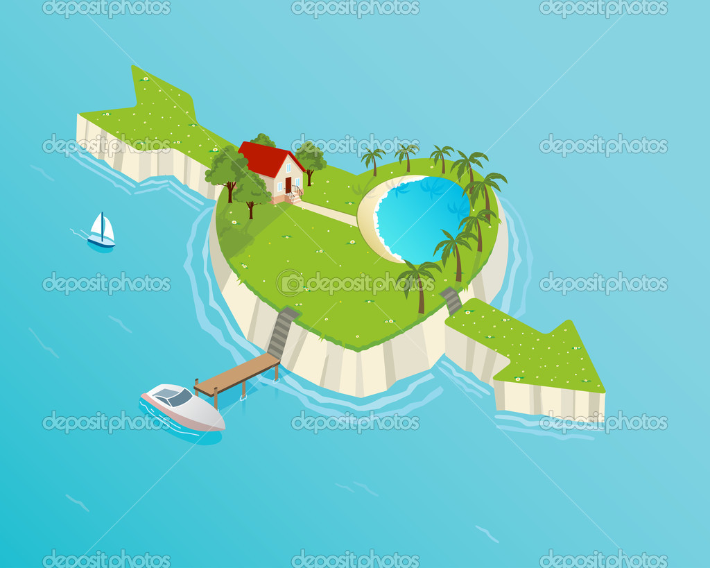 Heart shaped tropical island... — Stock Vector #10117488