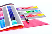 Color card and pen. — Stock Photo