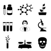 Science, biology and chemistry icon set — Stock Vector