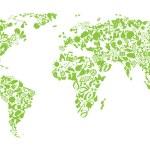 mapa-múndi de ícones de eco — Vetorial Stock