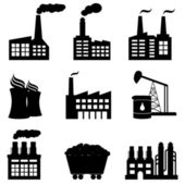Factory, nuclear power plant and energy icons — Stock Vector