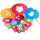Símbolos de red social — Vector de stock