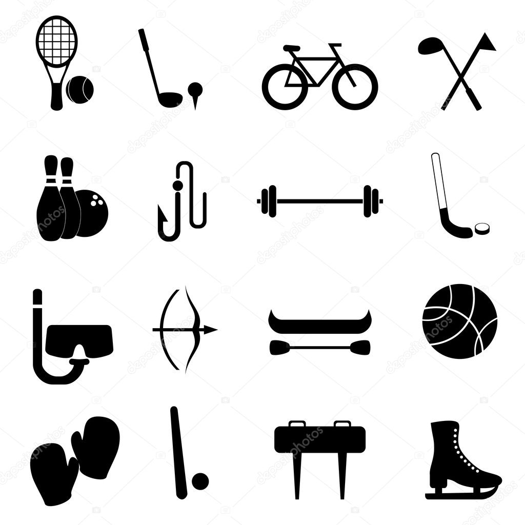 Sports and leisure equipment icon set — Stock Vector #9118900