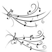 Music notes on ornamental staff — Stock Vector
