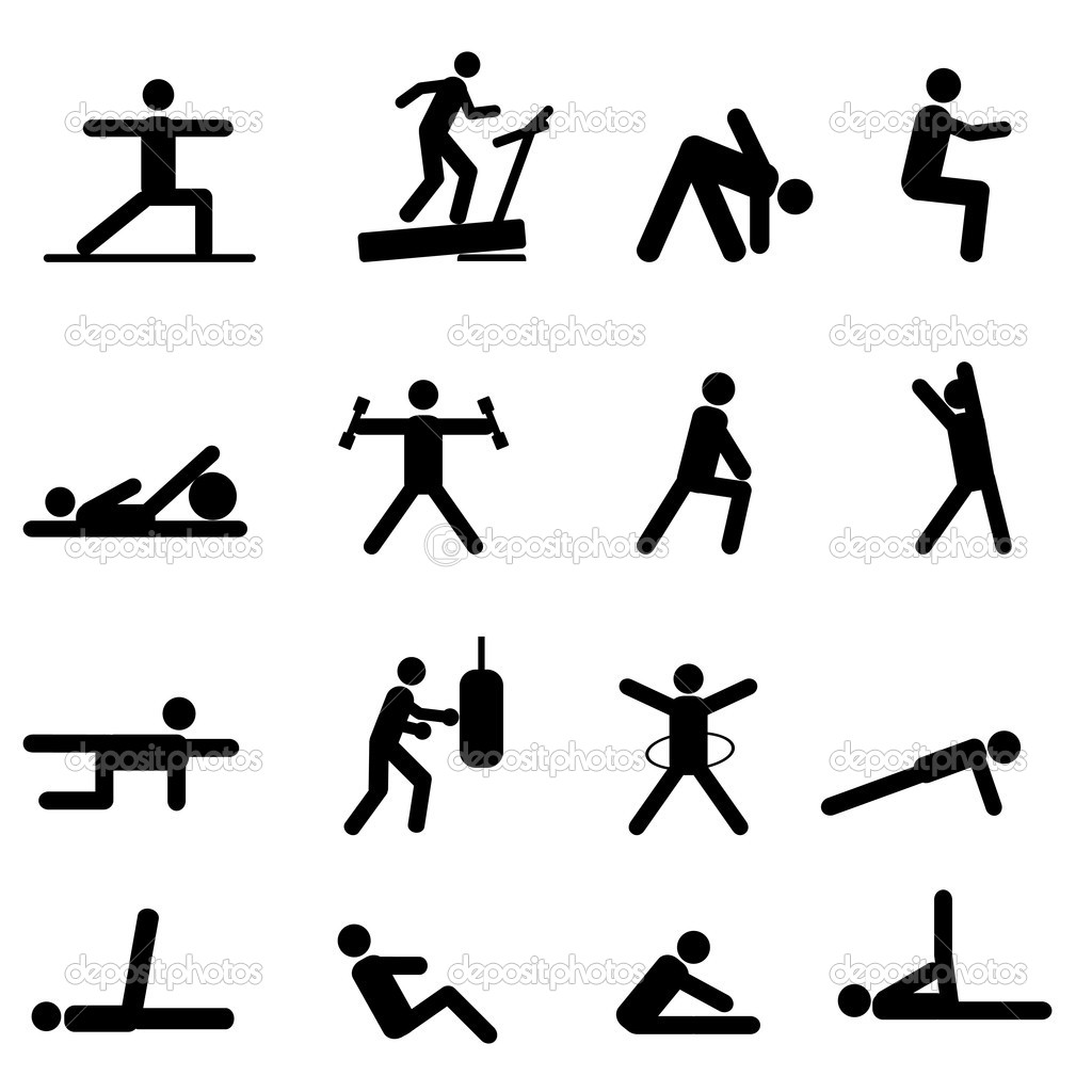Fitness and exercise icon set in black — Stock Vector #9720466