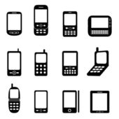 Various cell phones — Stock Vector