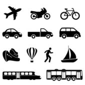 Iconos de transporte en negro — Vector de stock