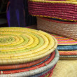 Colorful raffia basketry — Stock Photo