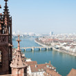 Basel, Switzerland With Rhine And Middle Bridge - Stock Photo