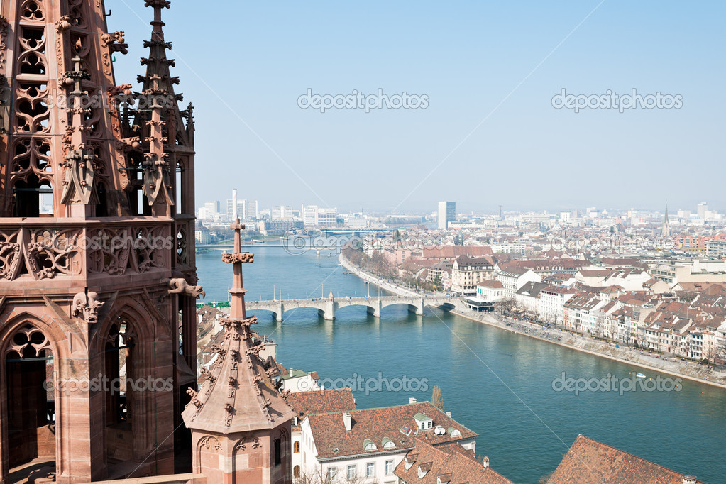 View on the very center of Basel, Switzerland with its river Rhine and the Middle Bridge.  Stock Photo #9786332