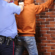 Stock Photo: Police officer aims at suspect detained