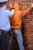 Police officer aims at suspect detained — Stock Photo