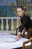 Camarera en el trabajo — Foto de Stock