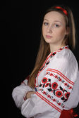 Girl in Ukrainian national costume — Stok fotoğraf