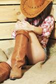 Sleeping cowgirl — Stock Photo