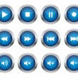 Blue multimedia buttons - Stock Vector