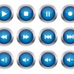 Blue multimedia buttons — Stock Vector