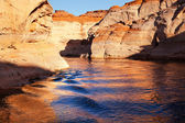 Orange Antelope Canyon Blue Water Reflection Lake Powell Arizona — Stock Photo