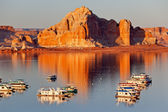 Castle Rock Wahweap Bay Marina House Boats Lake Powell Glen Cany — Stock Photo