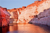 Orange Pink Antelope Canyon Reflection Lake Powell Arizona — Stock Photo