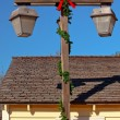 Stock Photo: Christmas Lamp Post Old SDiego Town Roofs California
