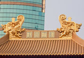Gold Dragons Roof Top Jing An Temple Shanghai China — Stock Photo