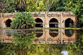 Athpula Stone Bridge Reflection Lodi Gardens New Delhi India — Stock Photo