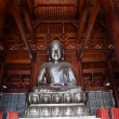 Silver Buddhin Wooden Hall Jing Temple Shanghai China — Stockfoto #8265265