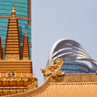 Stock Photo: Golden Temples Dragons Roof Top Jing Temple Shanghai China