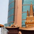 Stock Photo: Golden Temples Roof Top Jing Temple Shanghai China