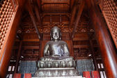 Silver Buddha in Wooden Hall Jing An Temple Shanghai China — Foto Stock