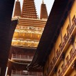 Foto de Stock  : Golden Temple Wooden Buildings Roof Top Jing Temple Shanghai